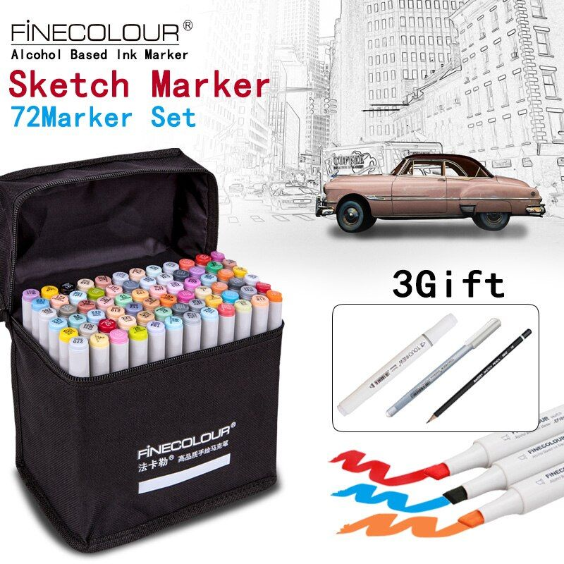 FINECOLOUR Artist Double Headed Sketch Marker Set 36/48/60/72 Colors Alcohol Based Manga Art Markers for Design Supplies