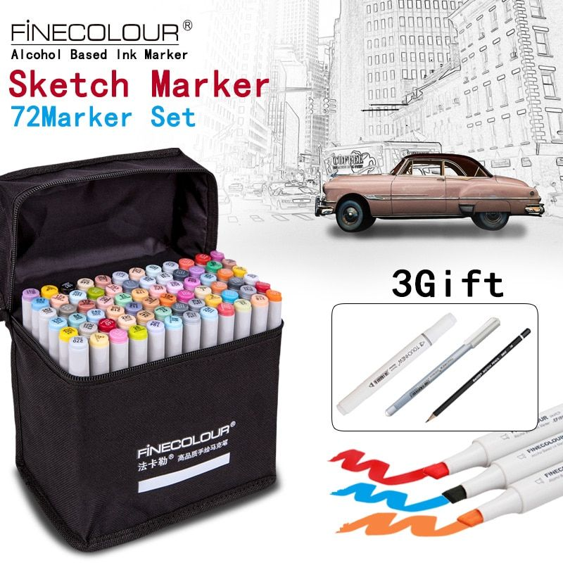 FINECOLOUR/STA Artist Double Headed Sketch Marker Set 36/48/60/72 <font><b>Colors</b></font> Alcohol Based Manga Art Markers for Design Supplies