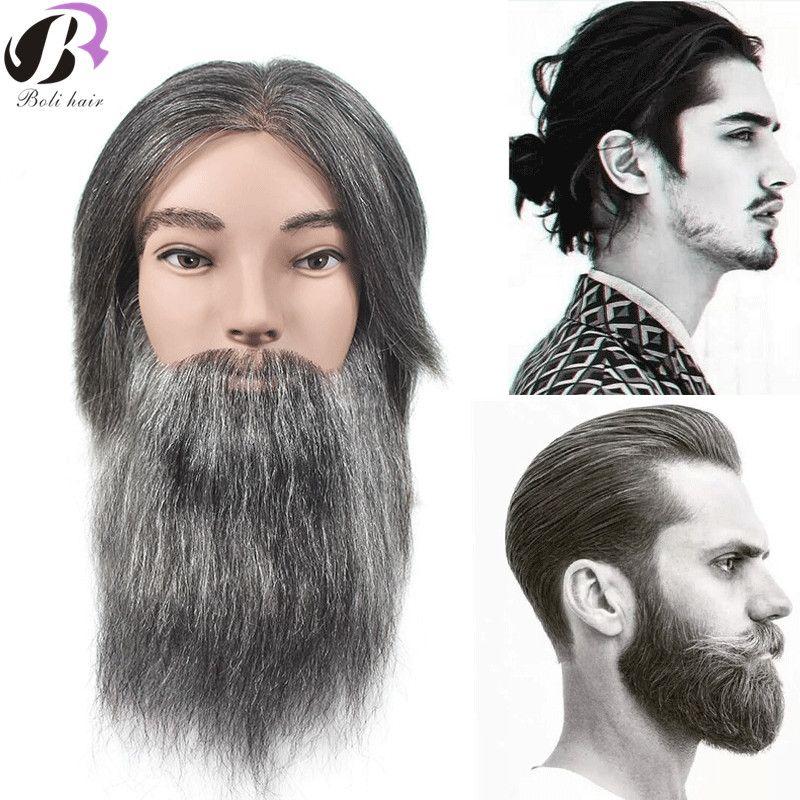 Männlichen Mannequin Kopf Mit Echte Menschliche Haar Ausbildung Friseur Puppe Kopf Für Bart Schneiden Praxis Salon Training Dummy Kopf