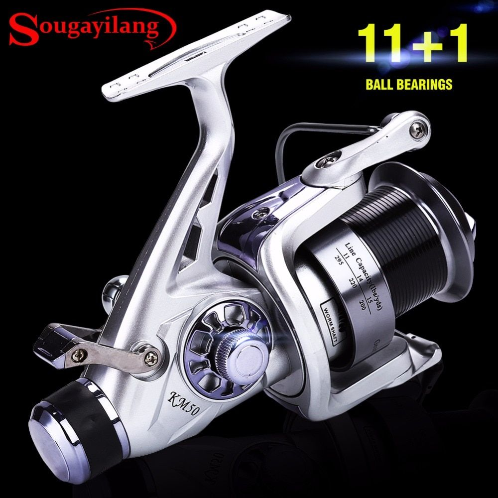 Sougayilang 11+1BB Carp Fishing Reel Carretilha Molinete Coil Wheel Spinning Fishing Reel 5.2:1 High Speed Fishing Reel Pesca
