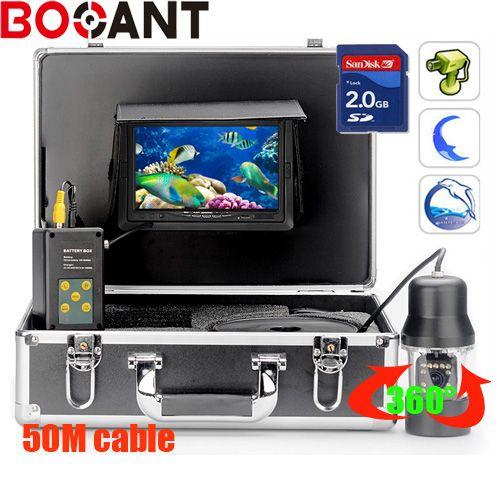 50 mt 360 grad-umdrehung SONY CCD PTZ Unterwasser-videokamera mit 7 Zoll LCD moniot box Freeship mit 8 GB SD karte