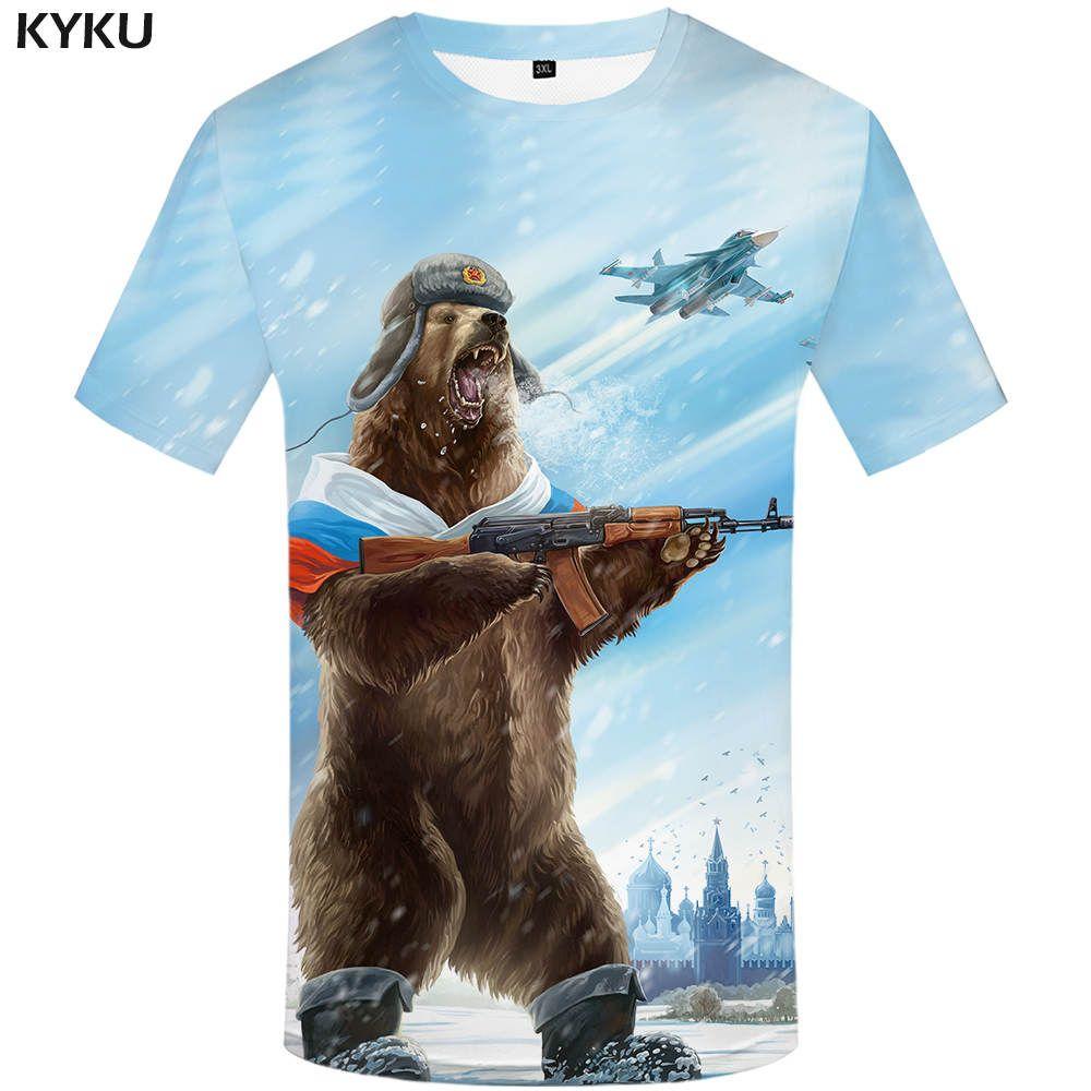 KYKU Brand Russia T-shirt Bear Shirts War Tshirt Military Clothes Gun Tees Tops Men 3d T shirt 2017 Cool Tee
