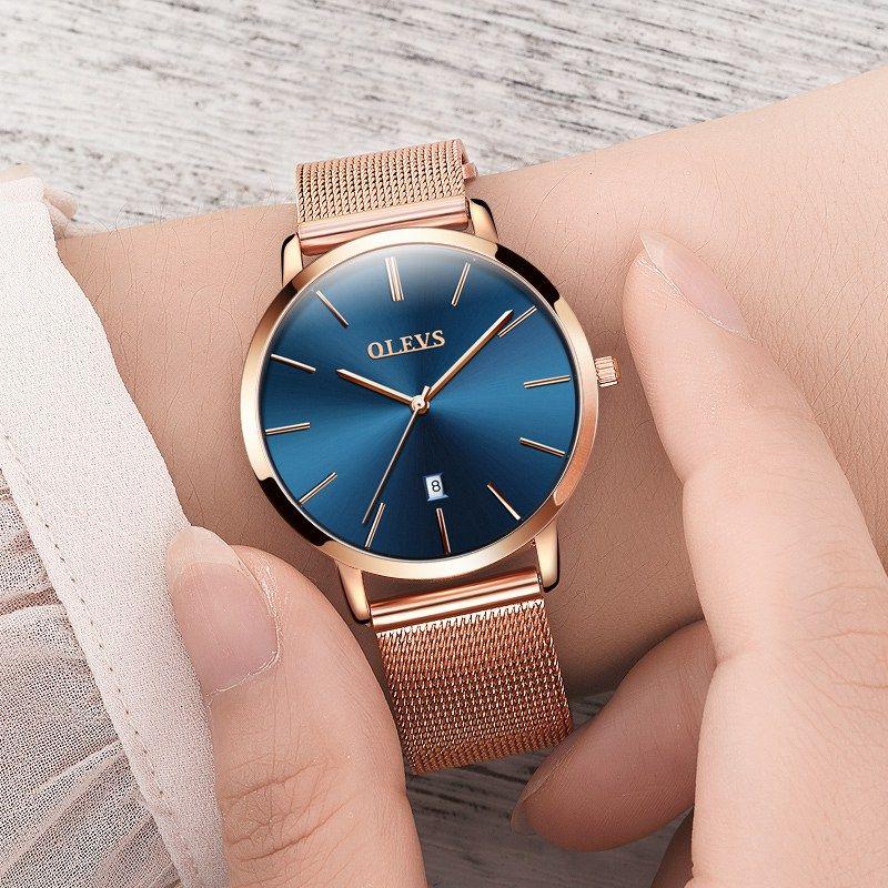 Ultra mince Dames montre Marque De Luxe Femmes Montres Étanche Or Rose Calendrier de Quartz En Acier Inoxydable montre-Bracelet montre femme