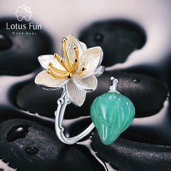 Lotus Menyenangkan Nyata 925 Sterling Silver Natural Aventurine Gemstone Perhiasan Cincin Bunga Lotus Berbisik Cincin untuk Wanita Bijoux