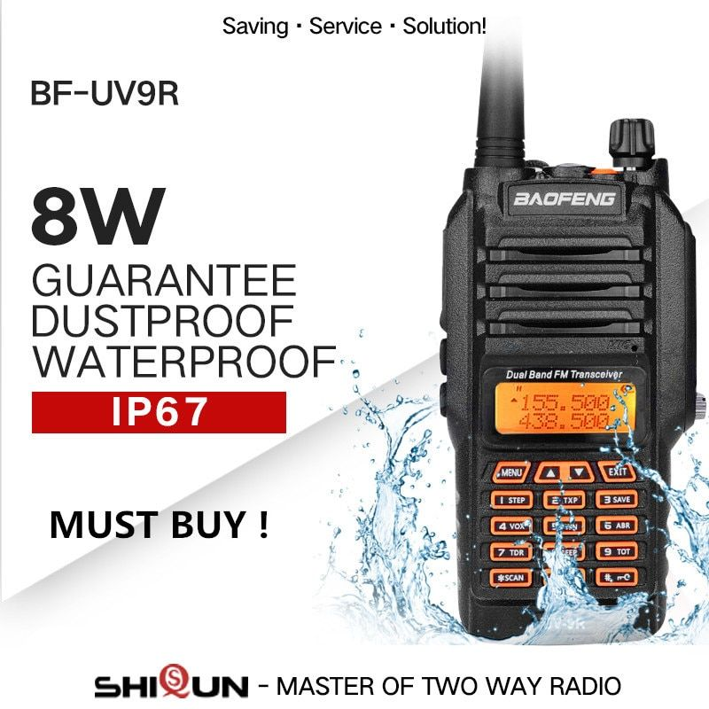 Sale! Upgrade Baofeng UV-9R IP67 Waterproof Dual Band 136-174/400-520MHz Ham Radio BF-UV9R Baofeng 8W Walkie Talkie 10KM Range