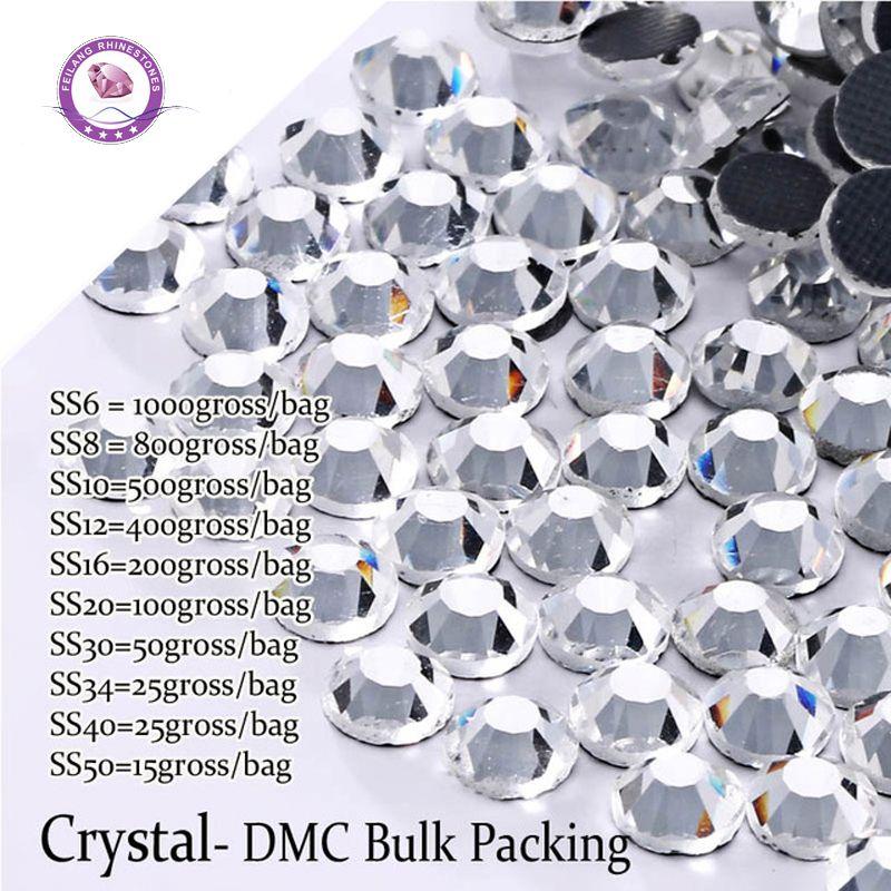 DMC Hotfix Rhinestones Großhandel Kristall Steine Flatback Strass Maschine Geschliffenem Glas Massenverpackung Rhinestone Kleidungsstück Kleid