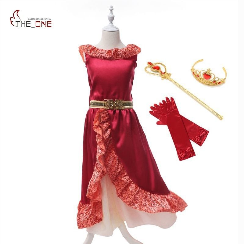 MUABABY Fille D'été Robe Elena de Avalor Princesse Costume Enfants Fille Elena Robe Cosplay Enfants Ruches Partie Danse Robe