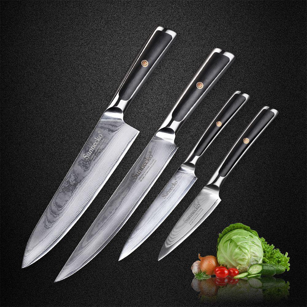2018 New SUNNECKO 4PCS Damascus Kitchen Knife Set Japanese VG10 Core Steel Blade G10 Handle Utility Chef Slicing Paring Knives
