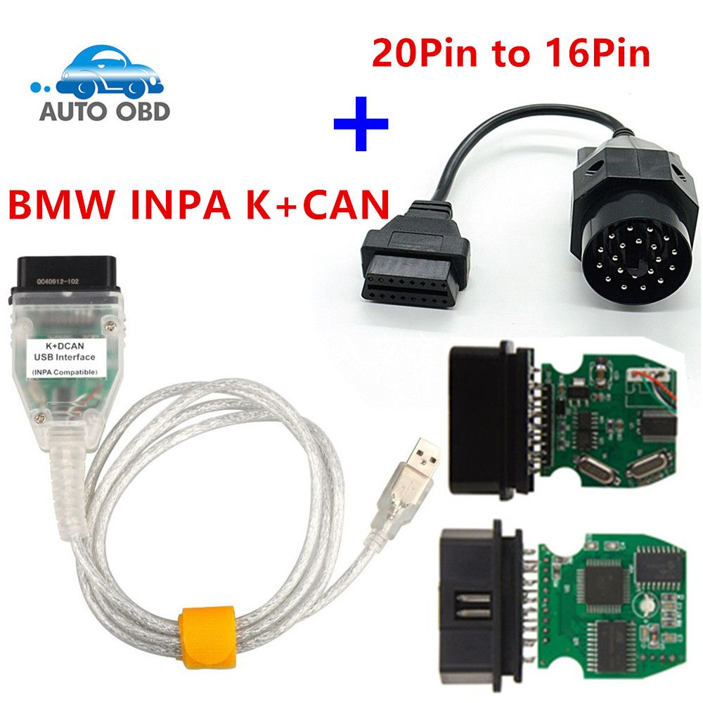 For BMW INPA K+CAN Plus 20pin to 16pin OBD2 Adaptor K DCAN INPA With FT232RL Chip K DCAN USB Interface Connector for BMW 20Pin