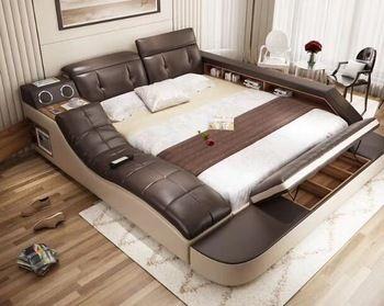 Réel véritable lit en cuir avec massage/double lits cadre roi/reine taille chambre meubles camas modernas muebles de dormitorio