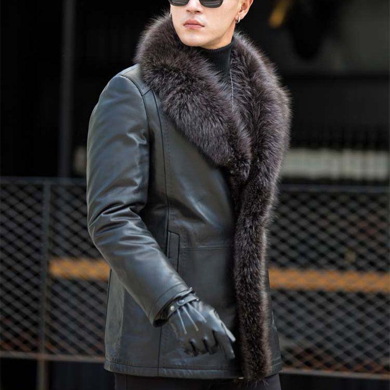 Männlichen Waschbären Pelz Kragen Lange Pelz Einem Leder Männer der Jacke Großen Pelz Warme Plus Größe 5XL Winter Echt Schafe leder Mantel MZ3267