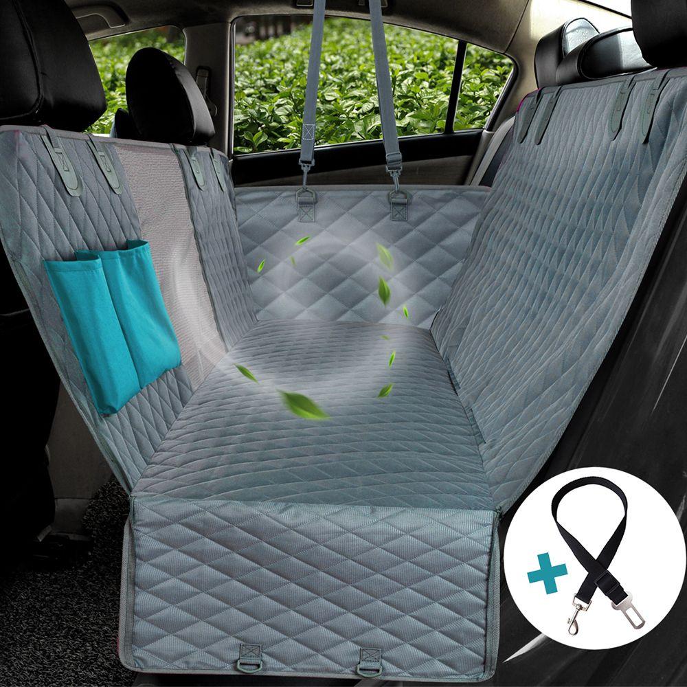 Housse de siège de voiture pour chien vue maille imperméable pour animaux de compagnie voiture arrière siège tapis hamac coussin protecteur avec fermeture à glissière et poches