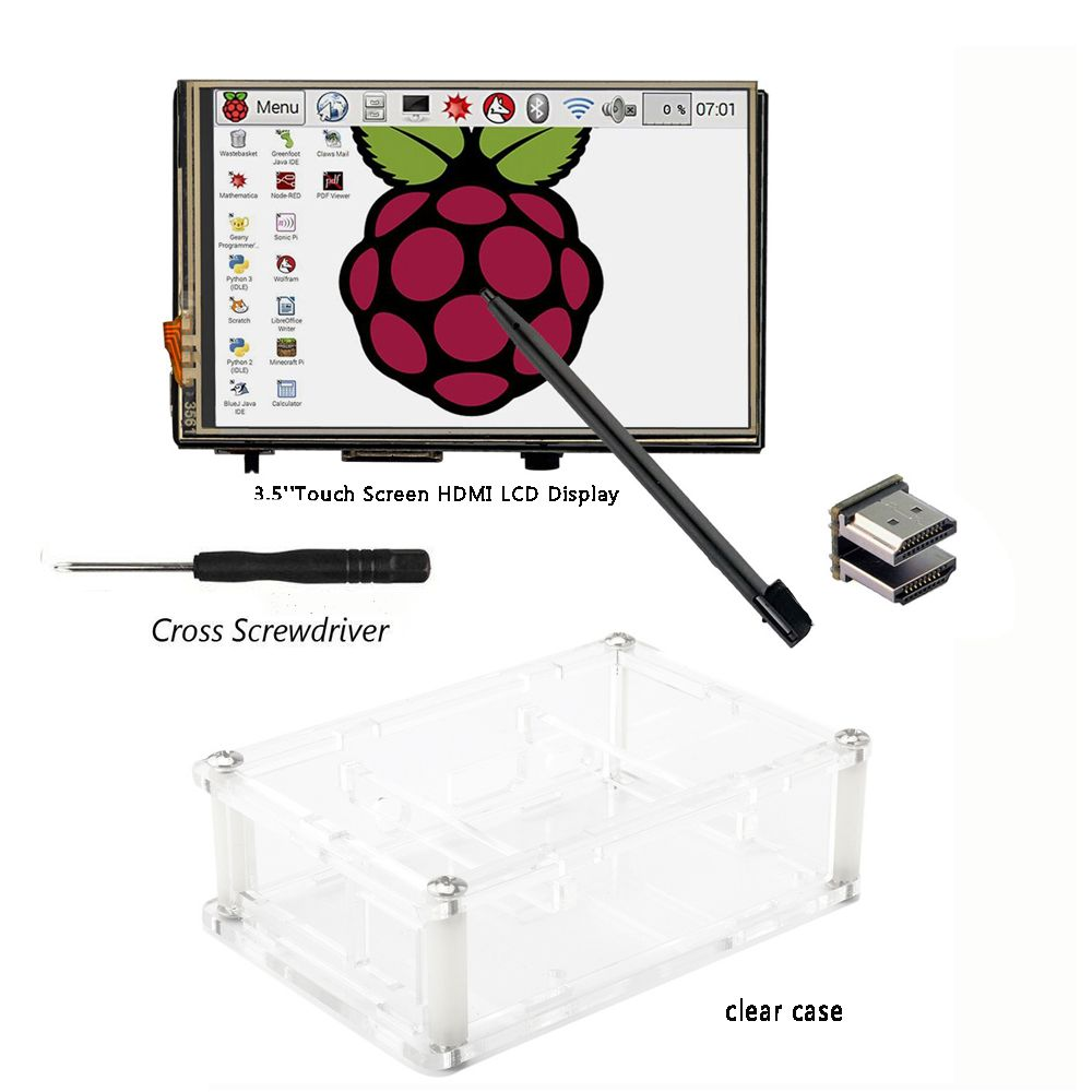 3.5 inch HDMI LCD TFT Touchscreen Display 1920*1080 with  Acrylic transparent Case for Raspberry pi 2 and Pi 3 Model B