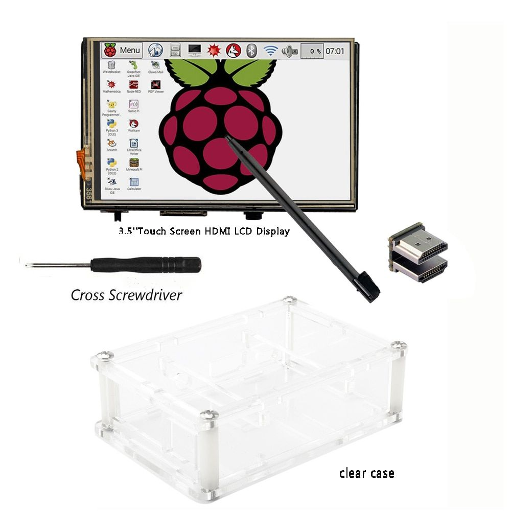 3.5 inch HDMI LCD TFT Touchscreen Display with Acrylic transparent Case for Raspberry pi 2 and Pi 3 Model B