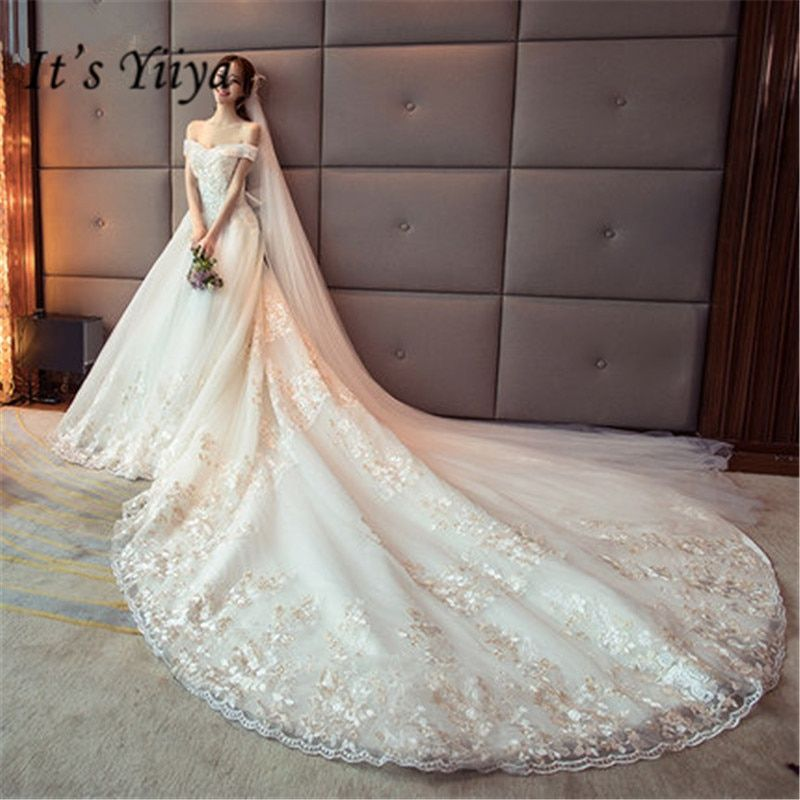It's YiiYa Fashion Boat Neck Wedding Gowns Sexy Lace Pepal Train Frock Vestidos De Novia Casamento DV047