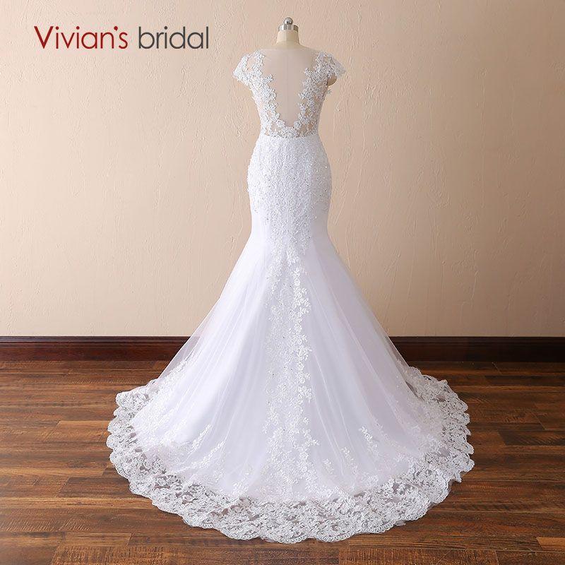 White Ivory Mermaid Lace Wedding Dresses V neck Backless Court Train Bridal Gown 2018