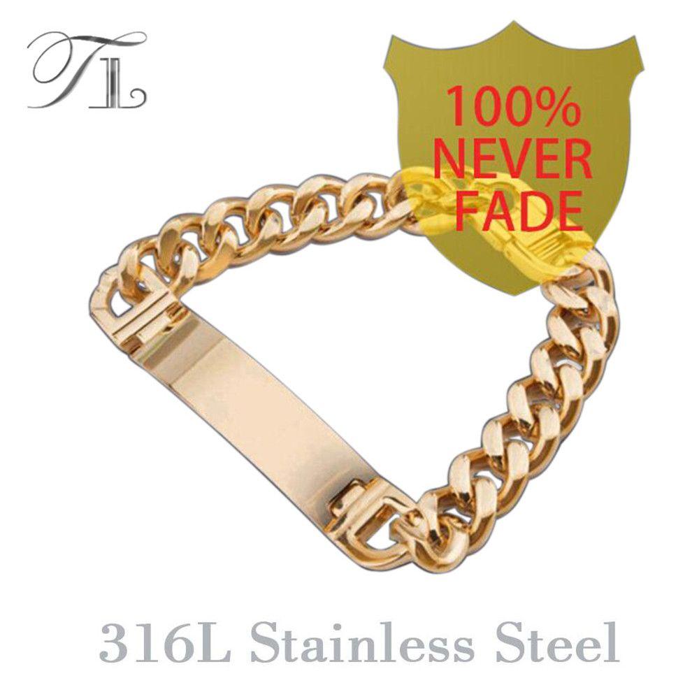 TL AAA + Ne Se Fanent Jamais!! En Acier inoxydable Bracelets Hommes Mode Bijoux Or Argent Hommes Bracelet Pulsera Hombre Bracelets Rigides
