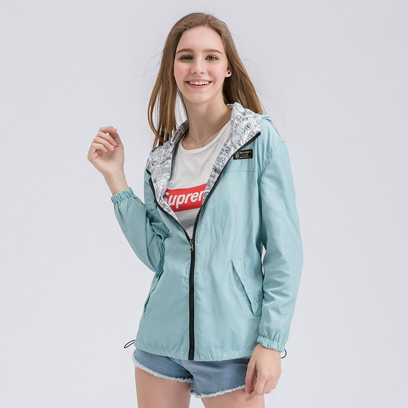 Spring Autumn Women Bomber Basic Jacket Pocket Zipper Hooded Two <font><b>Side</b></font> Wear Cartoon Print Outwear Loose Coat XS-XL