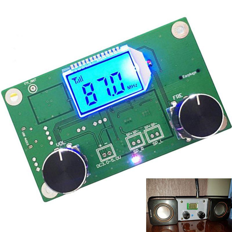 Módulo Receptor de Radio de Modulación de Frecuencia FM Estéreo Receptor PCB Placa de Circuito Con El Silenciamiento de la Pantalla LCD 3-5 V 87.0MHz 87.0-108.0MH