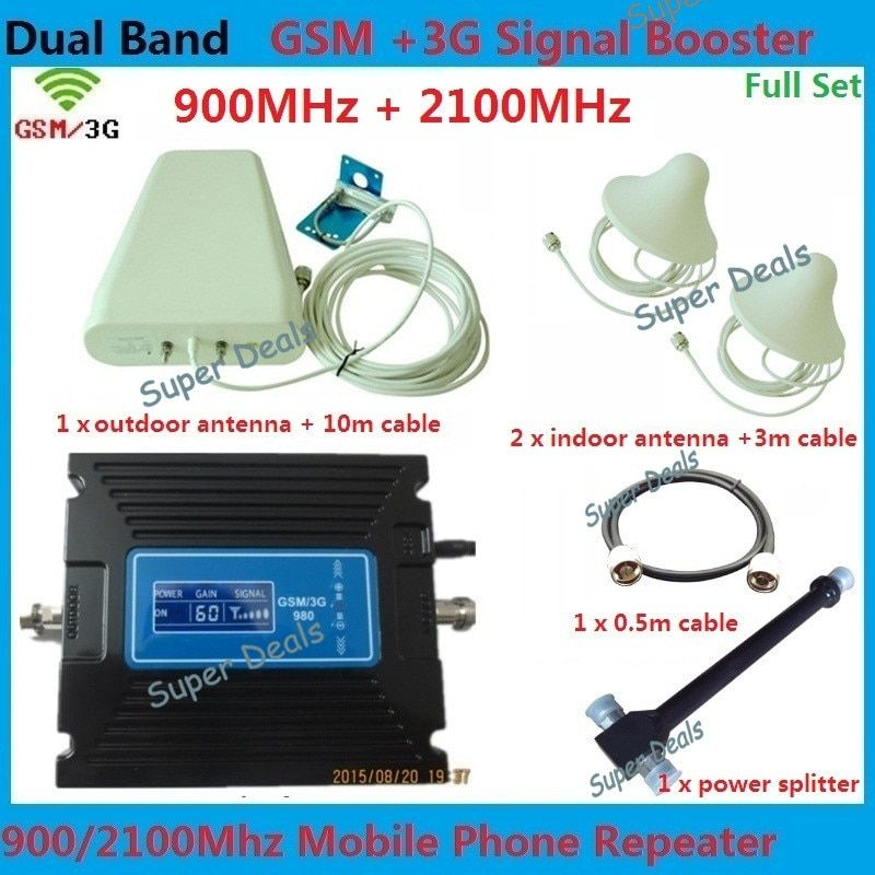 LCD Display 29-60db Gain adjustable lte 3G W-CDMA 2100MHz +2G GSM 900Mhz Dual Band Mobile Phone Signal 3g Booster gsm Repeater