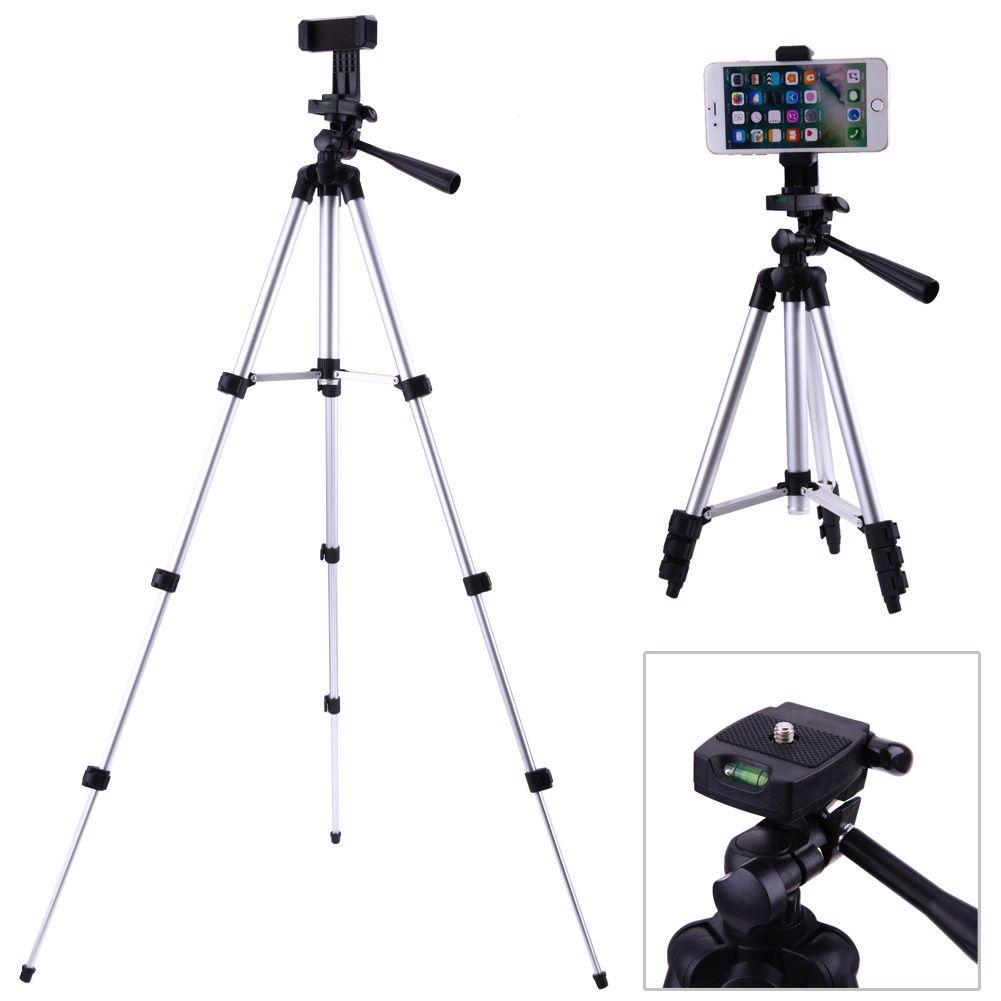 Professional Foldable Camera Tripod Holder Stand 1/4 Screw 360 Degree Fluid Head Tripod Stabilizer Aluminum with Phone Holder