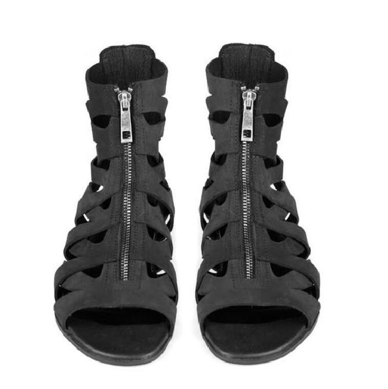 HOT Man Designer Sandals Genuine Leather Cool Beach Shoes Cut Out Flip-Flops Roman Male Black Sandalias High Top Summer Boot