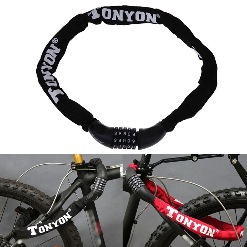 Bicycle Lock 5 Password Bike Digital Chain Lock Security Outddor Anti-Theft Locks <font><b>Motorcycle</b></font> Cycling Bicycle Accessories