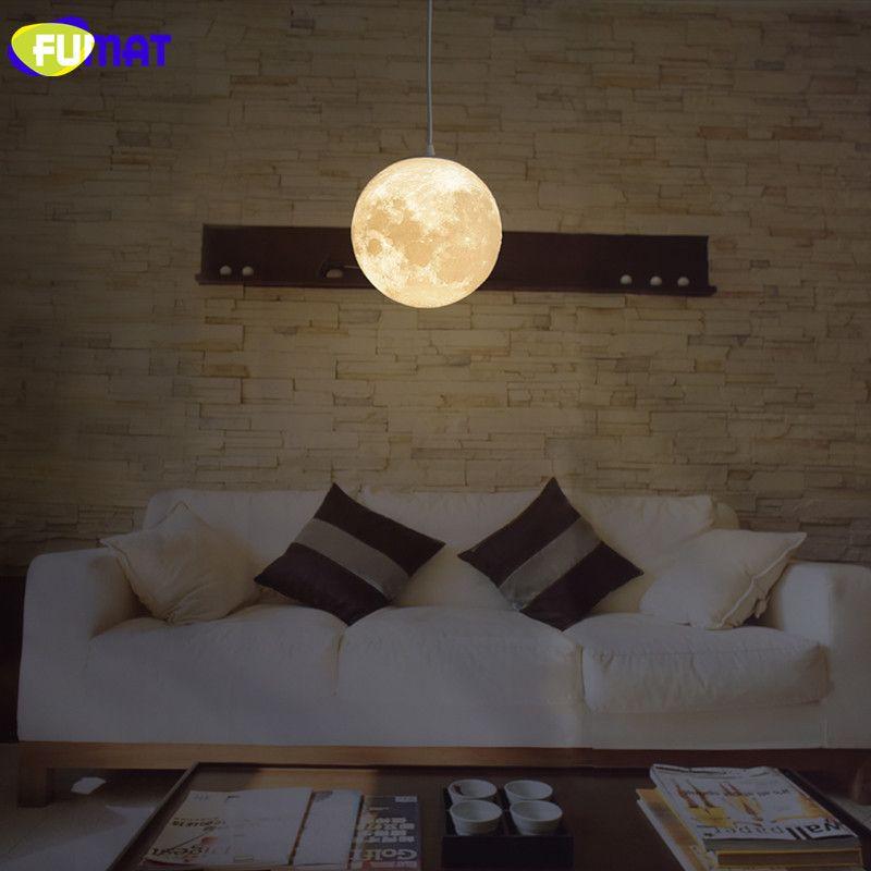 FUMAT 2017 New Moon Pendant Light Dining Room Living Room Lighting Creative LED Moon Pendant Lamp For Children's Bedroom Lampara