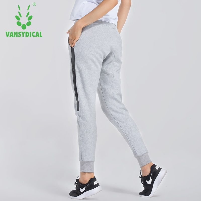 Women Elastic Waist Running Jogging Pants Breathable Training Trousers Female Autumn Winter Sports Pants With Zip Pockets