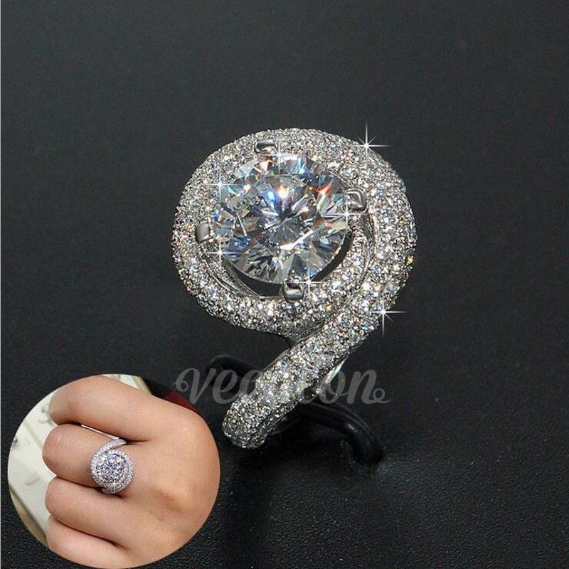 Vecalon Romantic ring Women Men Jewelry 2ct AAAAA Zircon cz 925 Sterling Silver lovers Engagement wedding Band ring Gift