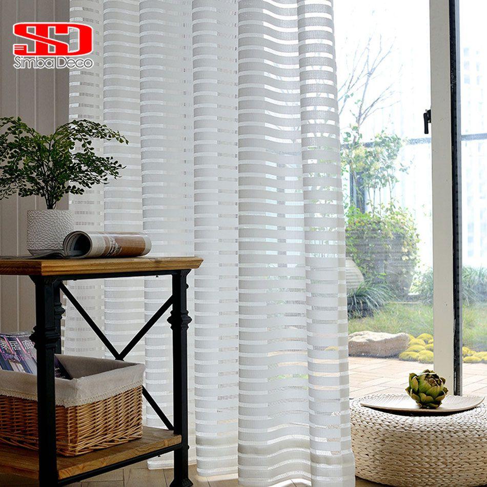 Rideaux en Tulle rayé moderne pour salon Voile blanc rideaux transparents courts pour chambre fenêtre traitement simple panneau cuisine