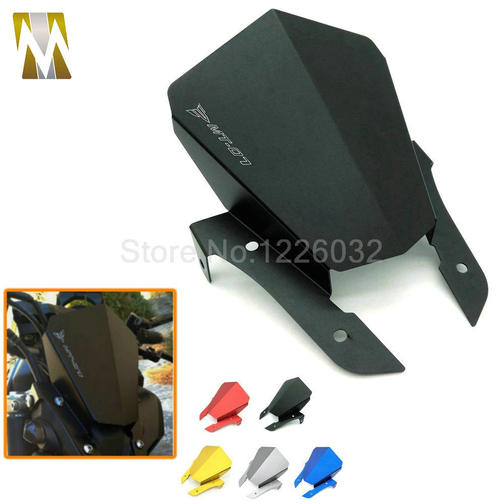 Motorcycle MT 07 Black Color Windshield Motorbike Aluminum Windscreen For Yamaha MT07 MT-07 2013 2014 2015