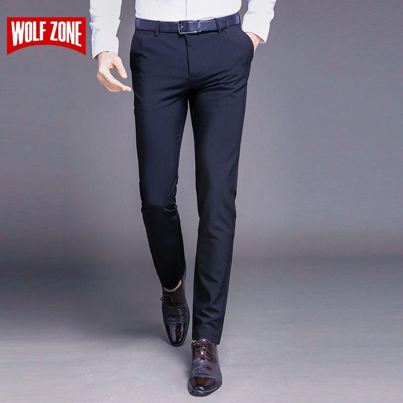 Mode Nouvelle qualité supérieure Coton Hommes Pantalon Droit Printemps et D'été Long Mâle Classique D'affaires pantalon décontracté toute la longueur Mi