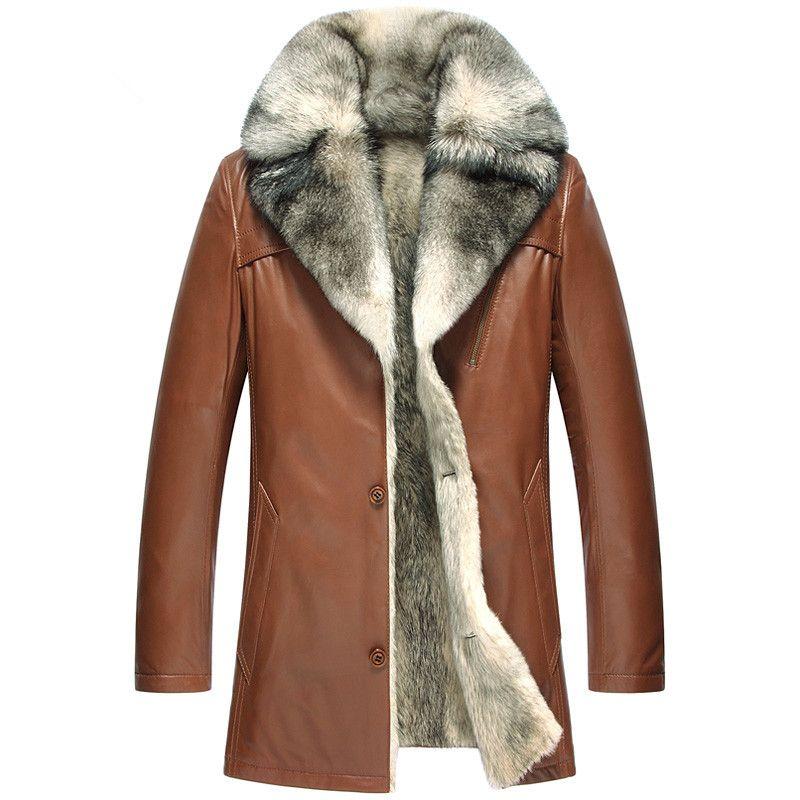 Echtes Leder Jacke Männer Natürliche Wolf Pelzmantel Winter Jacke Männer Luxus Schaffell Warme Mäntel Plus Größe Veste Homme 5051 MY1629