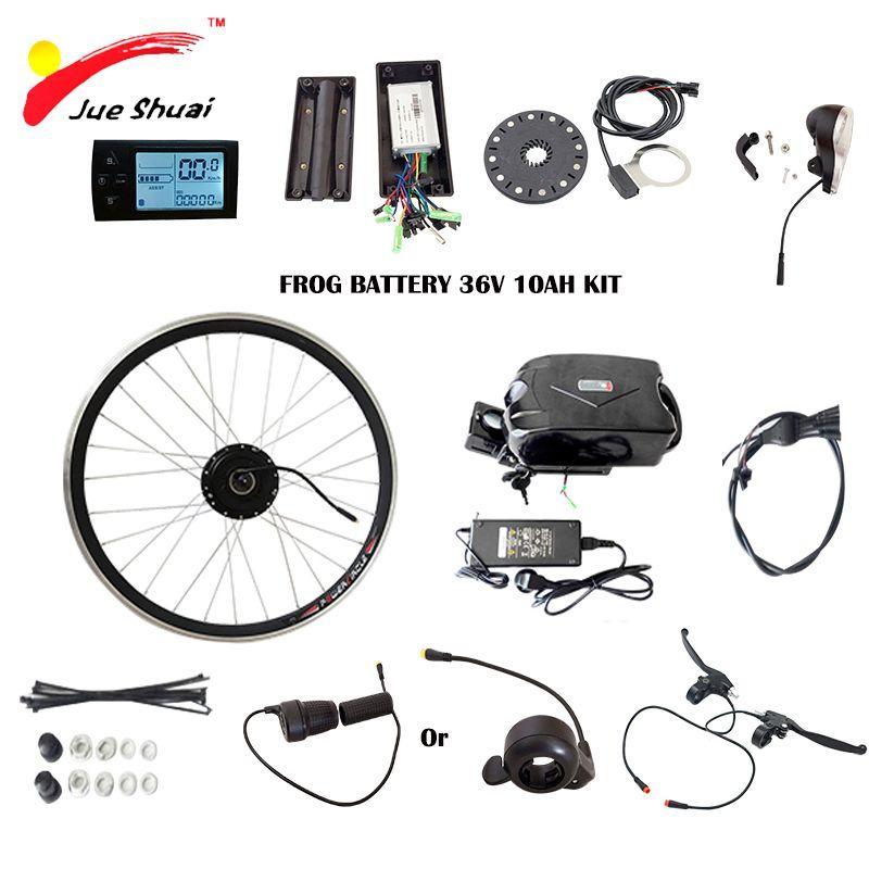 JS 350 Watt E fahrrad Umbausatz mit Roller Frosch Batterie mit ladegerät 36 V 10ah Vorderradnabe Motor Elektro-fahrrad-kits LCD Display