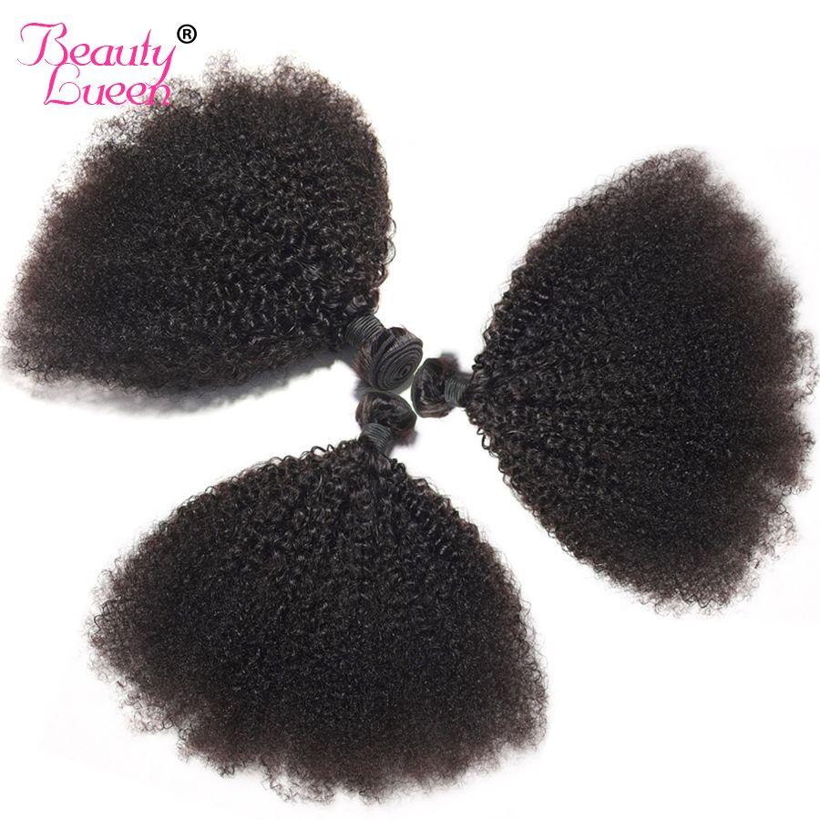 Noir mongol Afro crépus bouclés cheveux 3/4 paquets offres Non Remy Tissage brésilien Extensions de Tissage de cheveux humains pour tresser