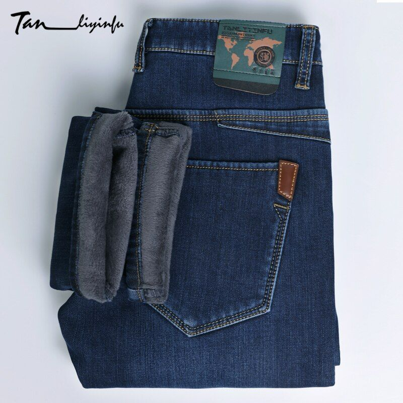 TANLIYINFU2017new поступление Высокое качество Марка Синий теплые джинсы для мужчин, мужские зимние утепленные эластичного денима молния узкие шта...