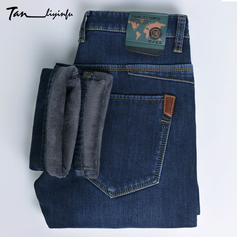 TANLIYINFU2017new arrival high quality brand blue warm jeans men, Mens winter thicken Stretch Denim zipper skinny pants men 1328