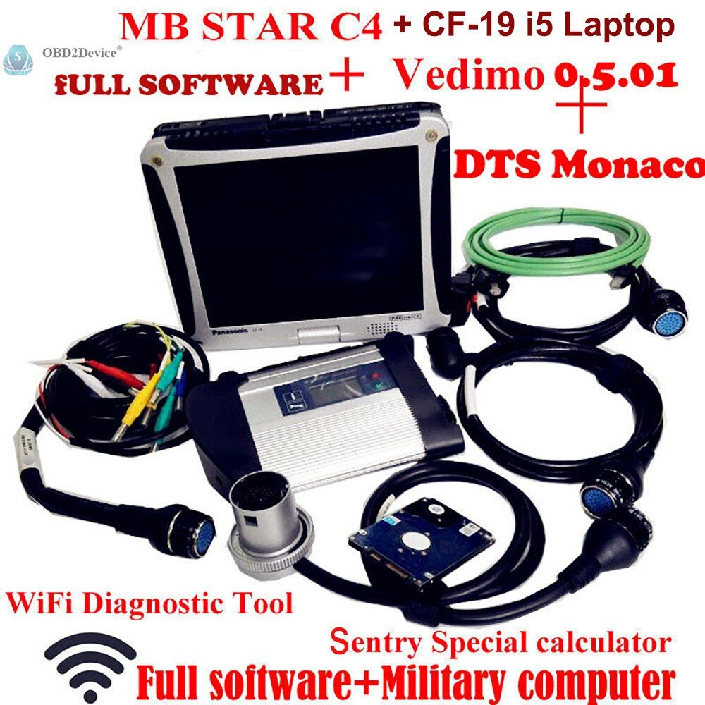 Top Quality Mb Star SD C4 with 2018-12 Software Vediamo+DTS MB Star Diagnosis Multiplexer with Panasonic CF19 Military Notebook