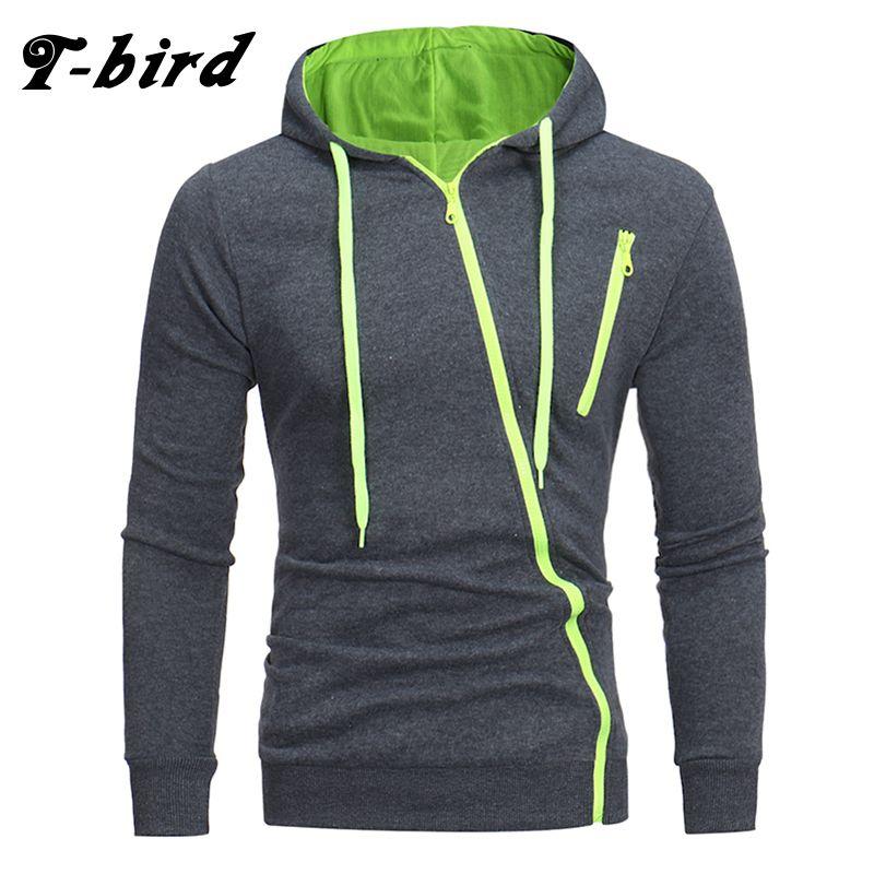 T-Bird Brand Hoodies Men 2018 Male Long Sleeve Hoodie <font><b>Features</b></font> Zipper Sweatshirt Mens Moletom Masculino Hoodies Slim Tracksuit