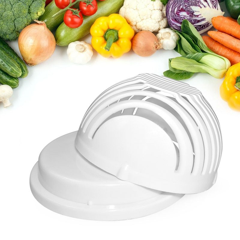 60 Seconds Salad Cutter Bowl Wave Shape Easy Salad Maker Tool Kitchen Gadget Vegetable Fruit Chopper Cutter Accessories