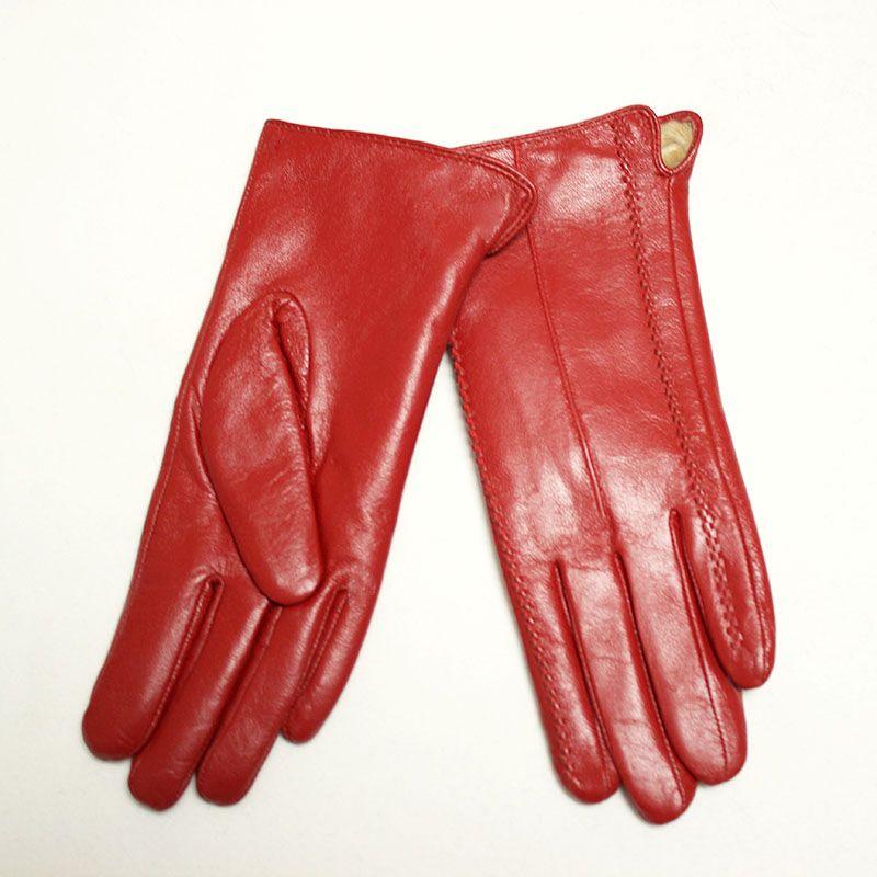 2018 offre spéciale gants d'hiver femme gants en cuir peau de mouton multicolore Super doux velours doublé gaines chaudes