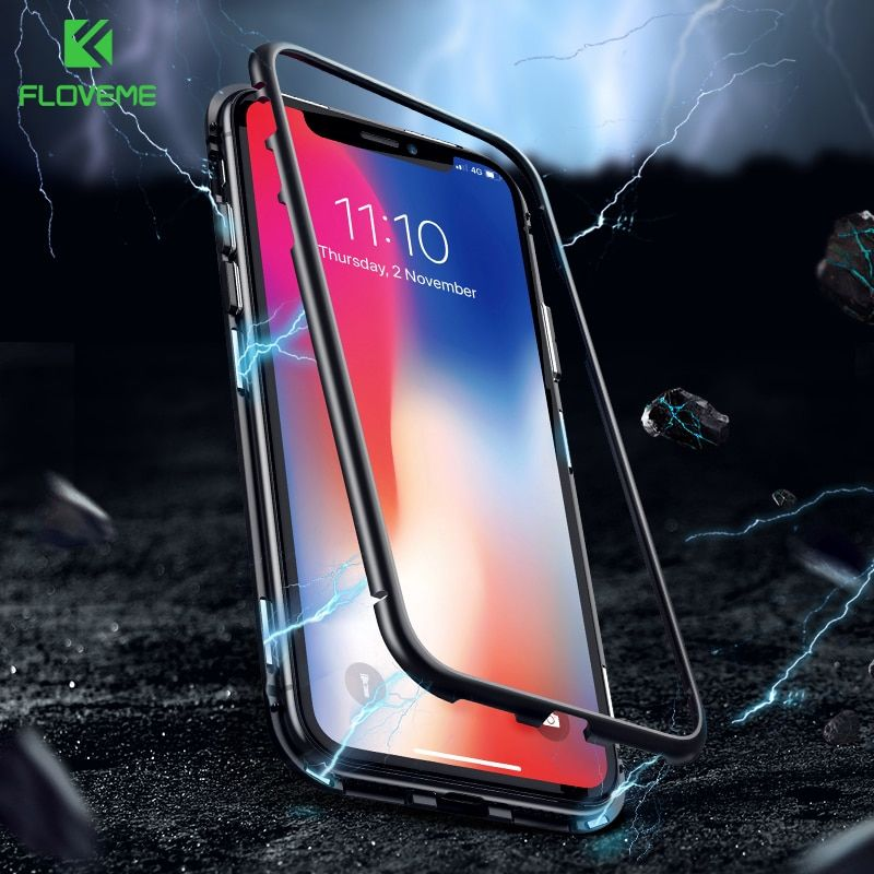 FLOVEME Anti-knock Magnetic Cases For iPhone7 7 8 8 Plus Xs Xs Max XR X 9H Tempered Glass Metallic Frame Transparent Fundas Capa