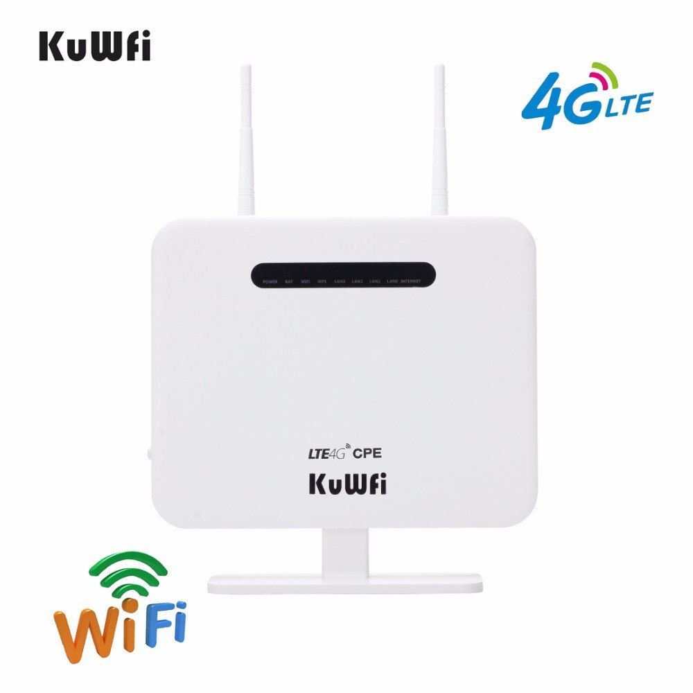 KuWFi Unlocked 4G LTE CPE Mobile Router With LAN Port Support SIM Card Portable 300Mbps Wireless Router With 2 External Antennas