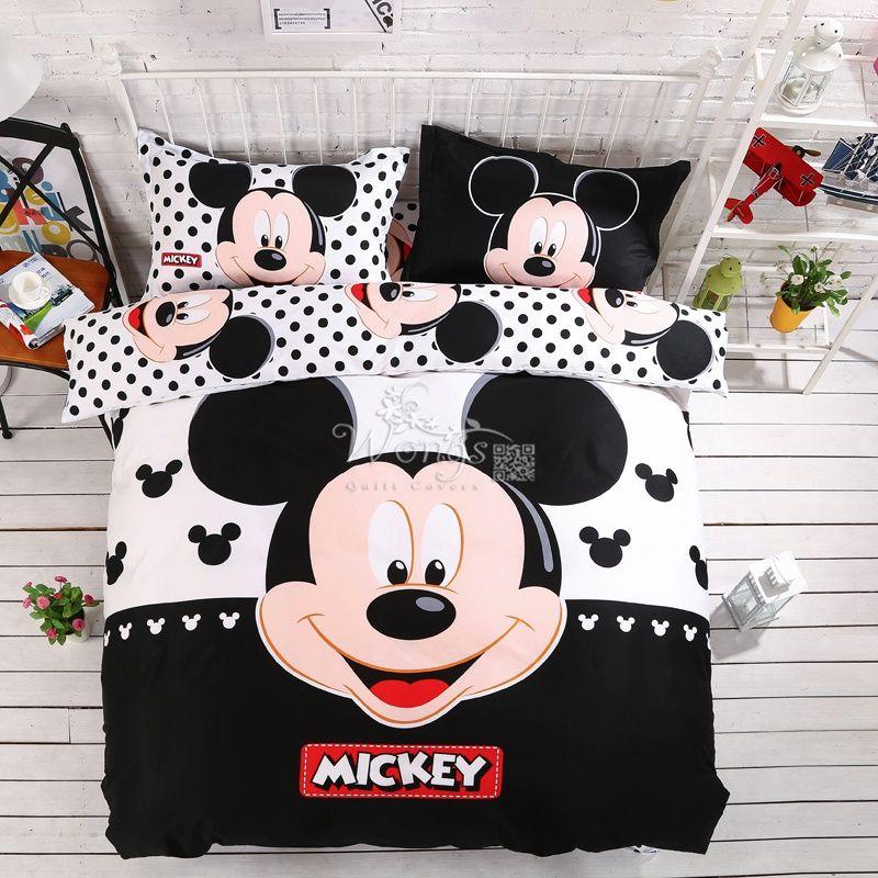 Textiles de maison 100% coton adulte enfants Garçons Disney mickey mouse 3d ensemble de literie Reine Roi taille couette Cover set/chambre ensembles