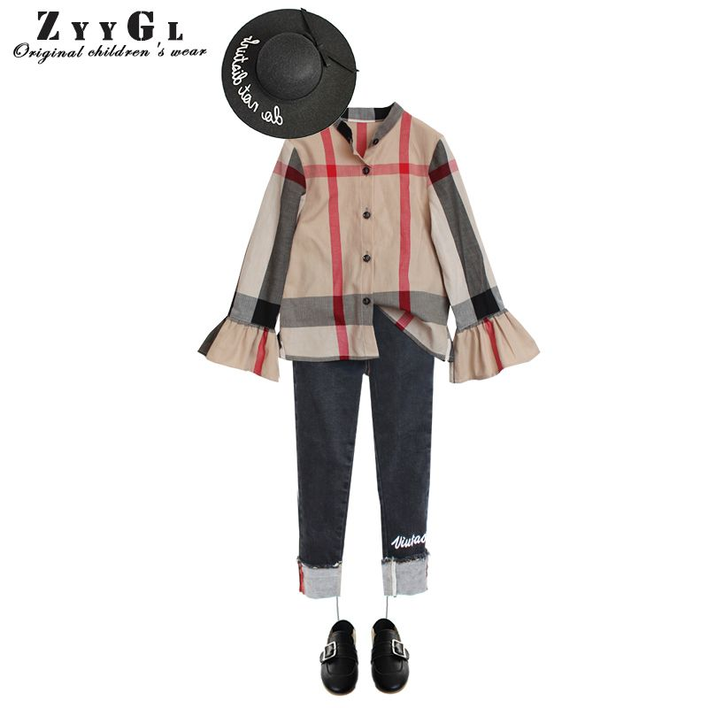 2017 Retail Children's shirts  Baby Girls Clothes Long Sleeve Shirts  Cotton Plaid Shirt pagoda sleeve  Lovely baby clothes