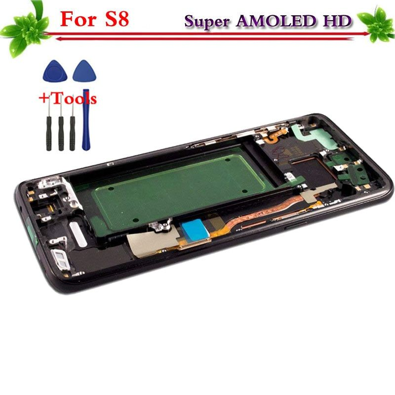 Super AMOLED for Samsung Galaxy S8 G950 G950F LCD display touch screen digitizer Replacement Assembly with frame for Samsung S8