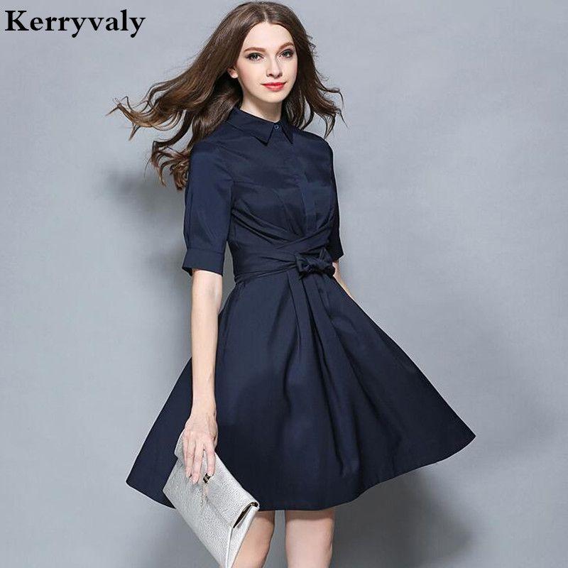 OL Style Dark <font><b>Blue</b></font> Work Office Dress Vestidos Verano 2018 Autumn Vestido Vintage Dashiki Dress Tunique Dames Kleding 72278