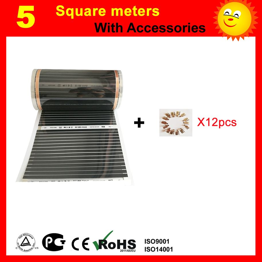 TF floor Heating film 5 Square meter with 12 clips , AC220V infrared heating film 50cm x 10m electric heater for room