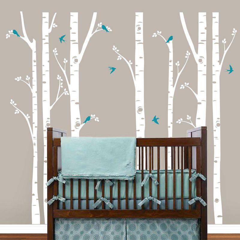 Énorme bouleau arbre oiseaux Sticker mural vinyle pépinière Art mural autocollants faciles à poser pour enfants bébé chambres stickers muraux arbre Branches décor à la maison